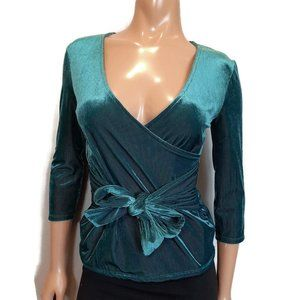 Express One Eleven Green Ribbed Velvet Wrap Top